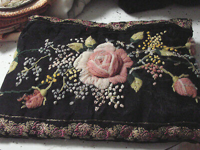Vintage Pillow Wool Crewel Embroidery Roses, Antique 1800s 7x10