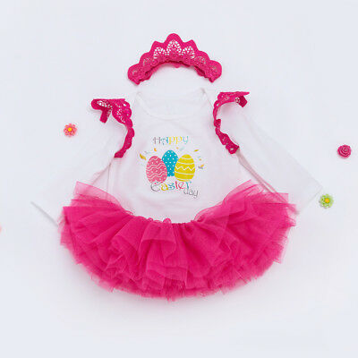 1ea66ed5fe87 Infant Baby Girl Easter Clothes Romper + Tutu Skirts + Headband Toddler  Outfits