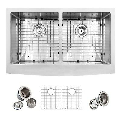 Glacier Bay Farmhouse Apron Front SS 33 in. Double Bowl 50/50 Sink Kit Satin