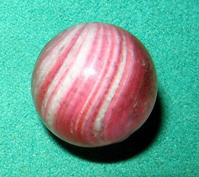 "Antique Handmade Pink & White ONIONSKIN Marble. 41/64"". A Beauty!!!"