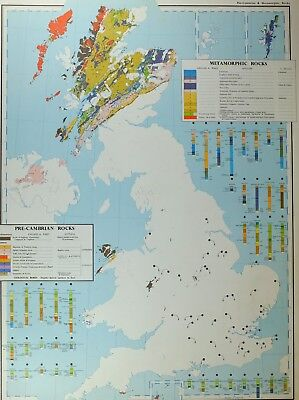 VINTAGE LARGE MAP of BRITAIN PRE-CAMBRIAN ROCKS METAMORPHIC LIMESTONE LAVAS