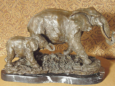 * Real Bronze Metal Statue Indian Asian Elephant and Her Baby Calf Sculpture