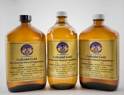 GOLD colloidal, 80 ppm, Canadian, essential Mineral Supplement, 500 ml, 3-00