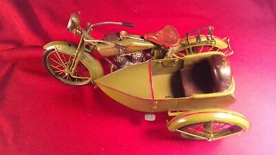 1920's Military Motorcycle with Sidecar, Rustic, All Metal Handcrafted Model