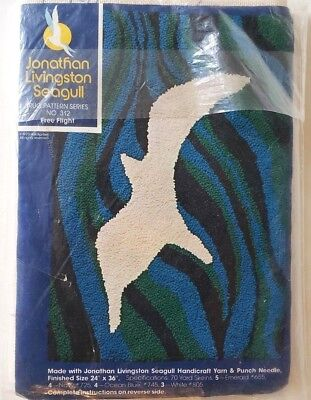 Jonathan Livingston Seagull Punch Needle Rug Pattern Canvas 24 x 36 Vintage 1973