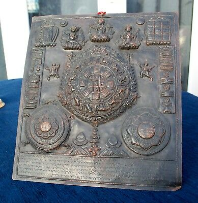 Antique TIBETAN Zodiac Deity Calendar Embossed Copper Prayer Gau Plaque Mandala