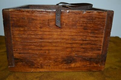 Antique Wooden Box With Leather Strap - Refinished And Gorgeous!