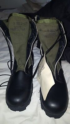 Military Engineer Black Leather Green Canvas Engineer  Military Boots 9 Nwt