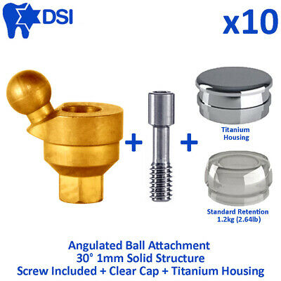 10x DSI Dental Implant Angulated Ball Attachment Silicone Insert Housing 30° 1mm