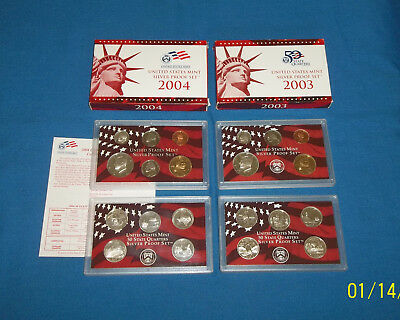 2003 & 2004 (w/COA) US Mint Silver Proof Sets Complete Sets w/Box Free Shipping
