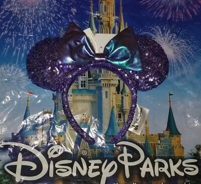 NEW Disney Parks Purple Potion Iridescent Bow Sequin Minnie Ears Headband ADULT