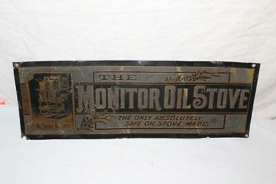 """Rare Vintage c.1900 Monitor Oil Stove Kitchen 20"""" Metal Sign~~Very Neat"""