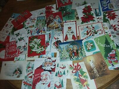 Lot Of  Vintage Christmas Cards - for scrapbook - some just the tops- Santa's