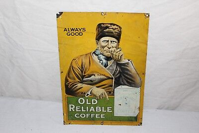 Rare Vintage c.1920 Old Reliable Coffee Grocery Store Can Gas Oil Metal Sign