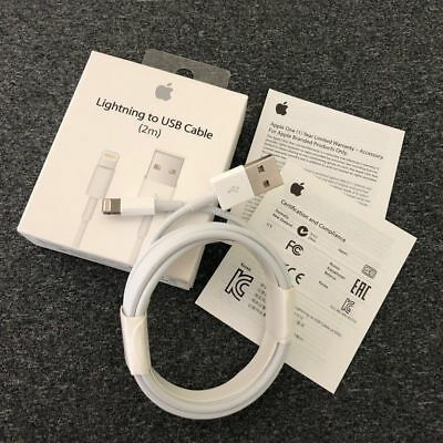 Genuine 2m Apple Lightning USB Charger Lead Cable For iPhone 5 5S 6 6S 7 8 X XS