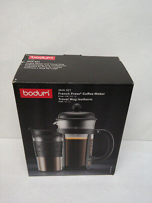 Bodum Java Set French Press Coffee Maker 8 Cup & Travel Mug Isotherm
