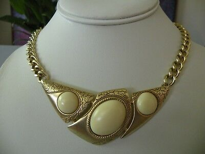 Egyptian Revival Gold Tone & Creamy White Lucite Chain Link Collar Necklace Vtg?