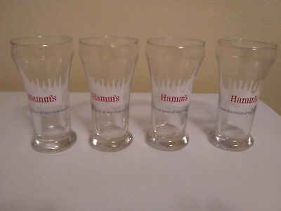 Vintage Hamm's Beer 7 Oz. Pilsner Glasses - Libbey Heat Treated Glass New Cond.