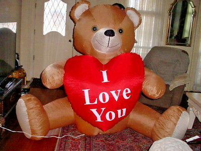 6' Gemmy Inflatable Lighted Teddy Bear Heart Outdoor Yard Valentines Day Decor