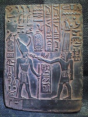 EGYPTIAN ANTIQUE ANTIQUITIES Ramses II With Seti I Stela Relief 2290-2275 BC