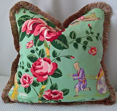"""Scalamandre China Rose Chinoiserie Pillow Cover 18""""x18"""" Scal Silk Moss Fringe!"""