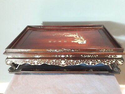 Vietnamese  Chinese Rosewood Mother Of Pearl Inlaid Tray . Stand. Cantonese.