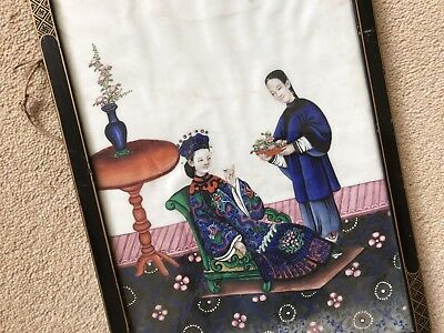 Antique Chinese Hand Painted Watercolour On Rice Pith Paper
