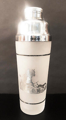 Stipple-Frosted Crystal – Sterling Equestrian Overlay By Duncan Miller Ca 1935
