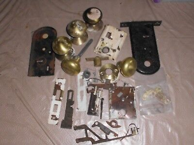 Selection of seven Vintage Brass door handles with various locks and parts