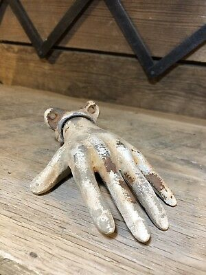 Antique Cast Iron Hand Coat Hook Ring Holder Holloween Display Farm Skeleton