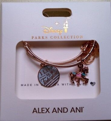 Disney Parks I Live In Fantasyland Carousel Alex and Ani Bracelet Rose Gold Set