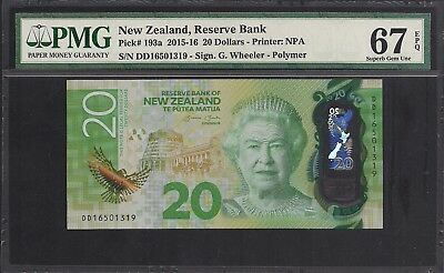 2015-16 New Zealand Bank Note $20 P193a PMG 67 EPQ TMM*