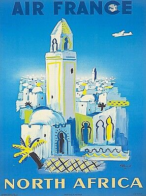North Africa Vintage Airlines Travel Advertisement Art Poster Print