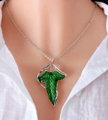 Green Leaf Charms Pendant Chain Necklace Womens Fashion Jewellery Retro Chic Fun