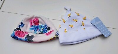 New floral Joules and duck design Jojo Maman Bebe baby hats age 3-6 months