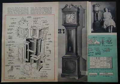 "54"" tall Grandmothers Clock 1958 How-To build PLANS"