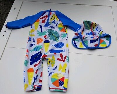 Marks & Spencer seaside design all in one swim sunsuit and legionnaires hat 6-9m