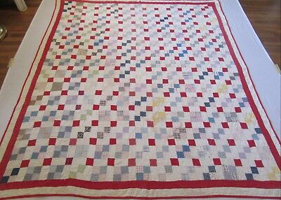 "Antique Handmade Red White Postage Stamp Quilt -  83"" x 71"""