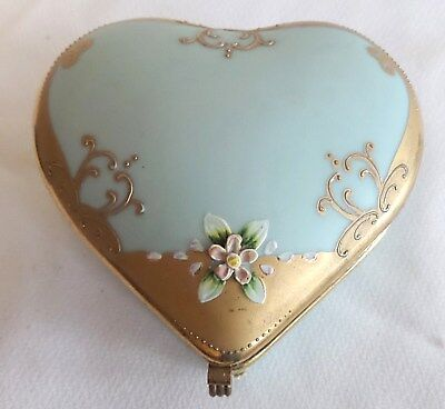 Antique Nippon Hart Shape Porcelain Hinged Trinket Box With Flowers With