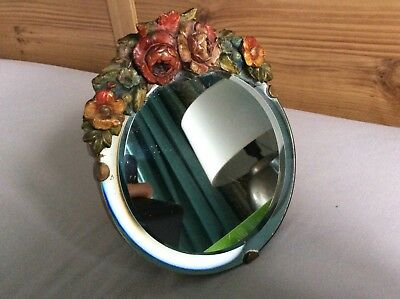 Barbola mirror vintage 1940s. Floral  easel Stand. Very Good Original Condition.