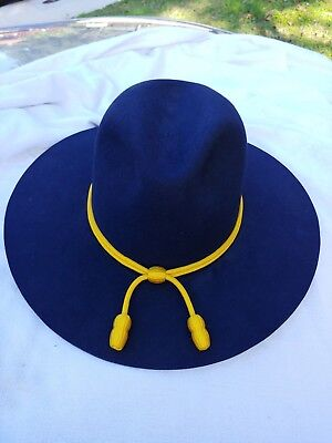 colorado hat company  Blue US Cavalry Style Wide Brimmed Hat yellow cord