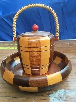 Retro vintage wooden ice bucket and bowl. treen