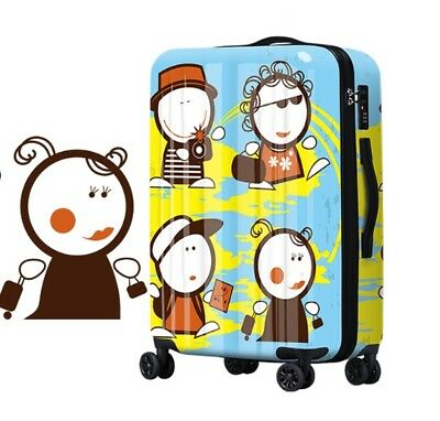 D335 Lock Universal Wheel Blue Cartoon Travel Suitcase Luggage 20 Inches W