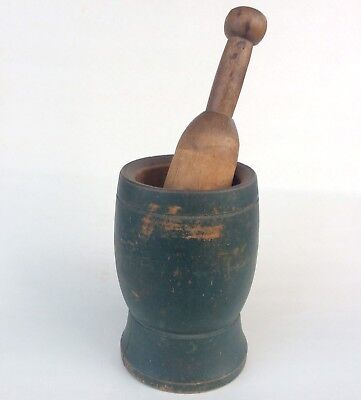 1800s MORTAR & PESTLE / GREEN PAINT wood antique primitive aafa apothecary