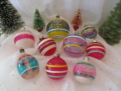 Lot Of 9 Unsilvered Glass Xmas Ornaments Stripes One Lavender One W/ Tinsel