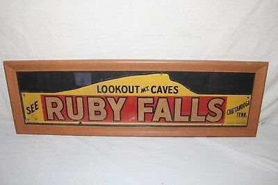 """Vintage 1930's Ruby Falls Caves Chattanooga Tennessee Gas Oil 33"""" Sign"""
