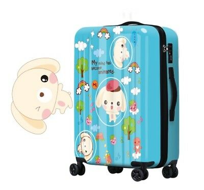 D158 Cartoon Dog Universal Wheel Blue Travel Suitcase Luggage 20 Inches W