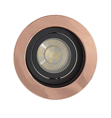 4 X Rose Gold Copper GU10 Tilt Ceiling Recessed Led Downlight Spotlights