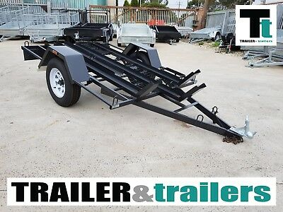 6x4 SINGLE AXLE L/DUTY MOTORBIKE TRAILER | 3 CHANNELS | JERRY CAN HOLDER + SPARE