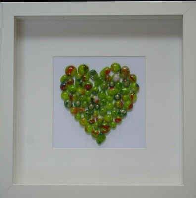 Handcrafted Green Fused Glass Heart Picture, 25x25cm white box frame.
